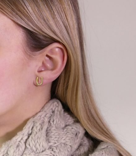 Hoefijzer oorbelletjes Goud