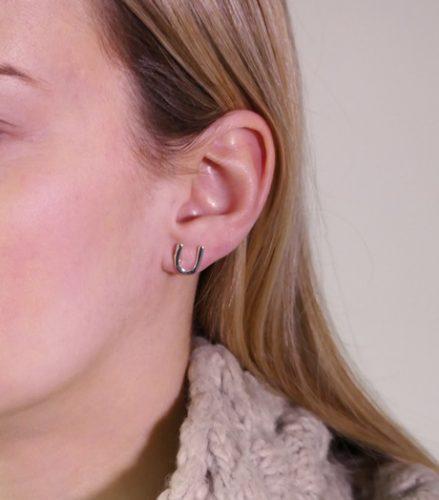 Hoefijzer oorbellen Zilver