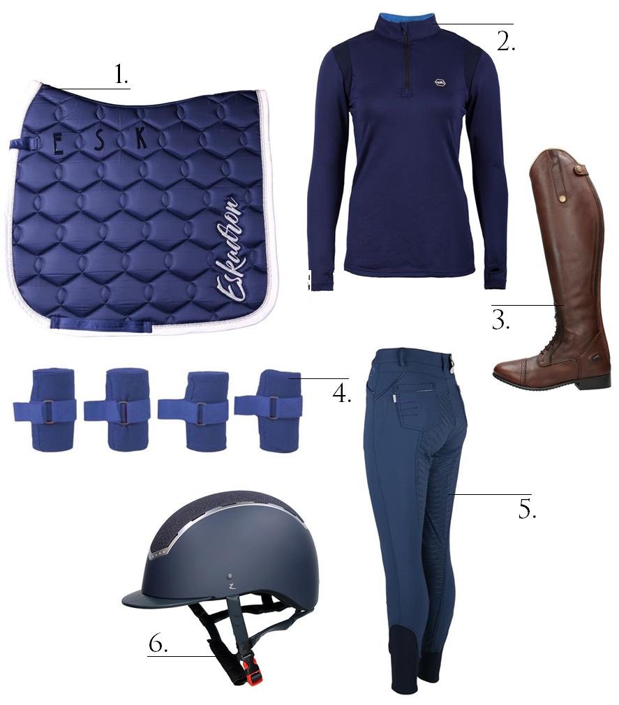 blauwe rijoutfit
