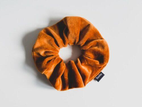 Scrunchie bio velvet roest oranje